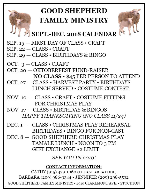 GOOD SHEPHERD SEP-DEC 2018 CALENDAR