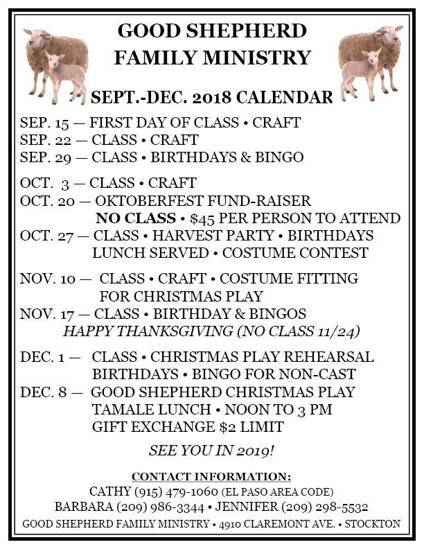 GOOD SHEPHERD SEP-DEC 2018 CALENDAR
